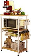 INDIAN DECOR. 46600 3 Layers Floor-Standing Kitchen Vegetable Multifunction Microwave Oven, Condiment, Rice Cooker Rack , L 52 x W 33 x H 70 cm
