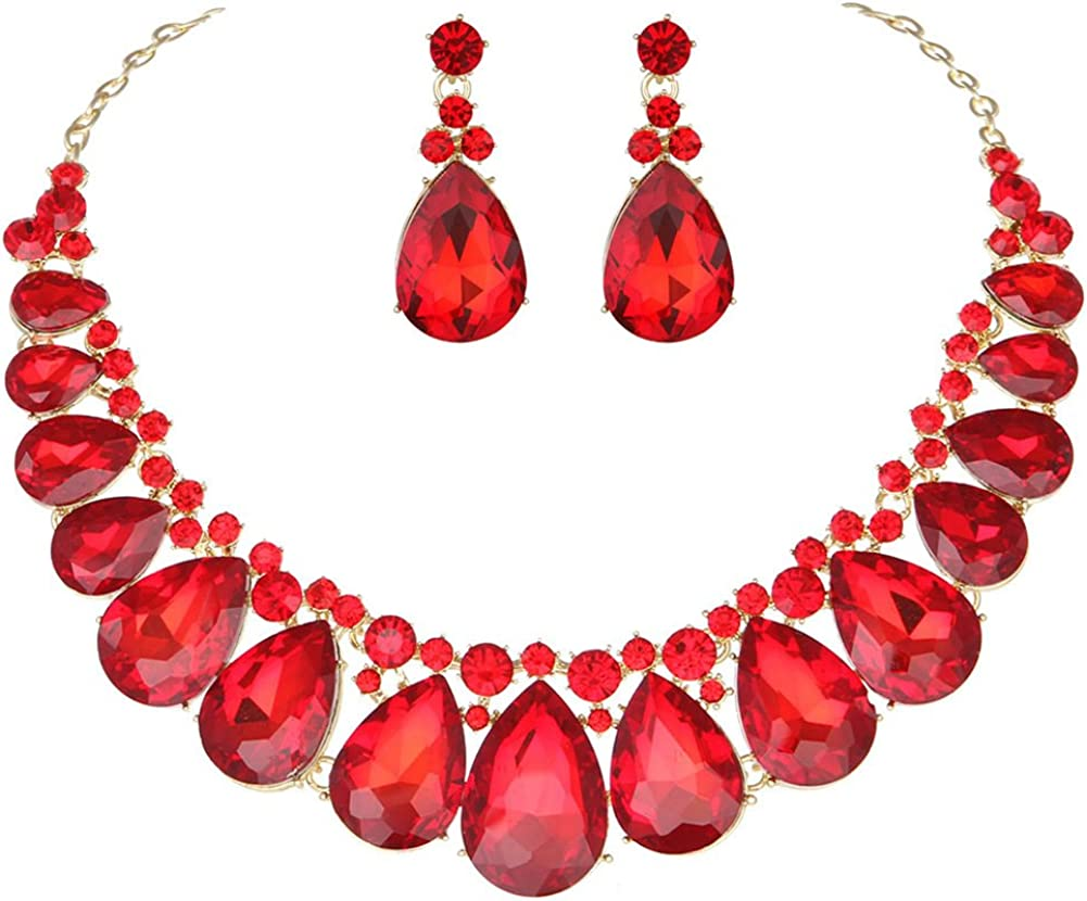 Youfir Water Drops Austria Crystal Necklace Earrings Set for Bridal Wedding Ceremony Events Dress