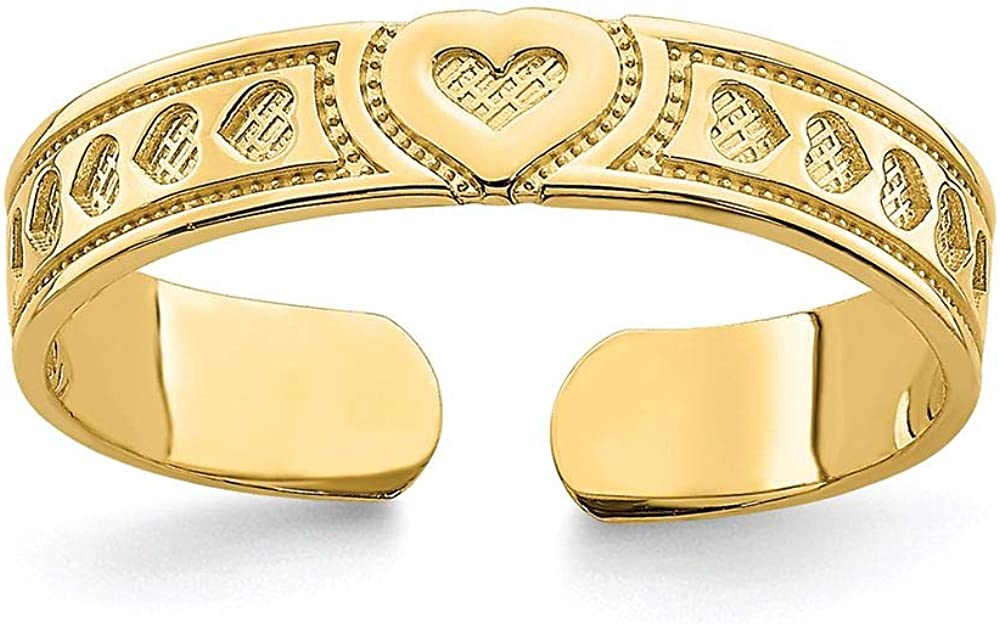 Finejewelers 14k Yellow Gold Adjustable Small Heart Engraved Design Toe Ring