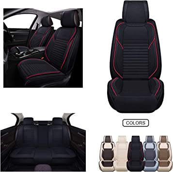 Fabric Wool Like Cloth Car Seat Covers, Linen Automotive Vehicle Cushion Cover for Cars SUV Pick-up Truck Universal Fit Set for Auto Interior Accessories (OS-013 Full Set, Black): image
