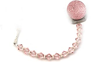 Luxury Pink Crystal and Beads from Swarovski and Pink Glitter Baby Girl Sparkly Gift Pacifier Clip (CSGP)