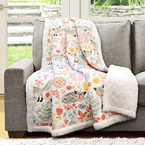 "Lush Decor Pixie Fox Throw Fuzzy Reversible Sherpa Blanket, 60"" x 50"", Gray & Pink"