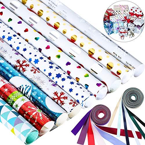 8 Stück Weihnachten Verpackung Papier Set mit 12 Stücke Farbigem Band