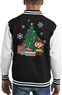 Cloud City 7 Chara Around The Christmas Tree Undertale Kid's Varsity Jacket