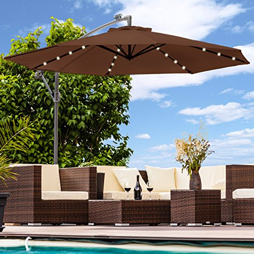 Luxus Sonnenschirm mit LED Beleuchtung Ampelschirm 300 cm Solar Garten Schirm Pavillon (Braun)