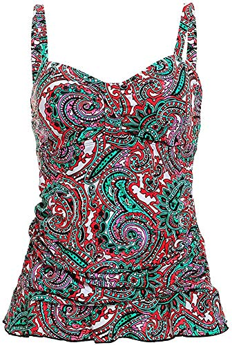 Women's One Piece Paisley Printed Body Shaping Ruffled Hem Swimsuit Top Purple