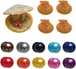 Akoya Oysters, POSHOPS Sea Oysters with Twin Pearl Inside Various Meaningful Colors Twin Pearl Oysters for Birthday Gift, Family Party 10PCS 7-8mm