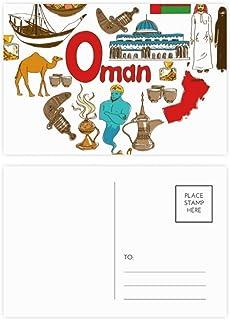 Omán Love Heart Landscap National Flag Postcard Set Birthday Thank Card Mailing Side 20pcs Tarjeta de felicitación de cumpleaños