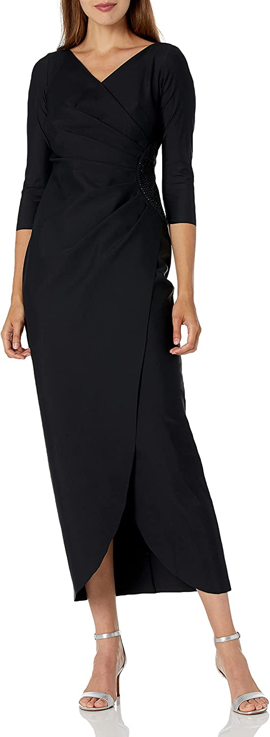 Alex Evenings Women's Slimming Long ¾ Sleeve Side-Ruched Dress