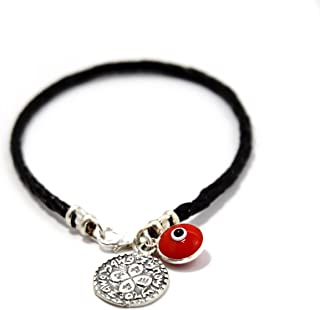 MIZZE Made for Luck Men's Braided Leather Charm Bracelet with Silver Coin Love Amulet and Red Glass Evil Eye - 8 Inch Length
