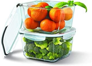 Mason Craft & More Food Storage Collection- Leak Proof Glass Container BPA Free Plastic Locking Lid, 4 Piece Covered 68 Ounce Extra Large Food Storage Container Set