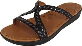 Womens Strata Whipstitch Leather Slide Sandal Shoes, Black, US 6