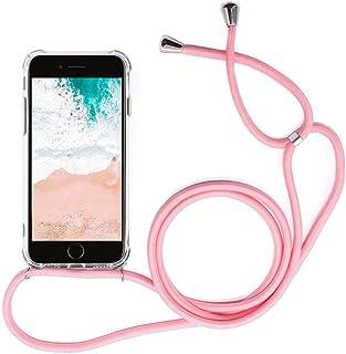 Funda para Samsung Galaxy J4 Plus con Cuerda, Samsung J4 Plus Carcasa Transparente TPU Suave Silicona Case con Correa Colgante Ajustable Collar Correa de Cuello Cadena Cordón Anti-Choque, Rosa