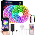 JUXIAO LED Strip Lights 50ft(15M) , APP Wireless Control with Remote 44 Key, Built-in Sound Responsive Mic and Music DIY Colour Changing , for Bedroom Home Kitchen Christmas Decorations