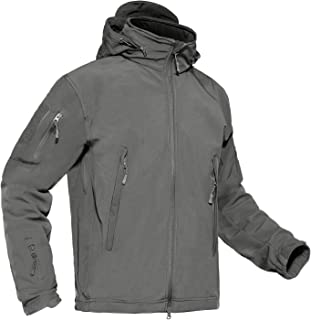CRYSULLY Men's Outdoor Hunting Military Soft Shell Fleece Hooded Coat Tactical Jacket