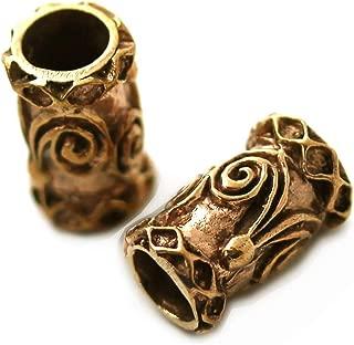 LynnAround Bronze Norse Viking Celtic Beard Beads Rings, Dwarven Dreadlock Pirate Medieval Hair Beads, Pagan Jewelry