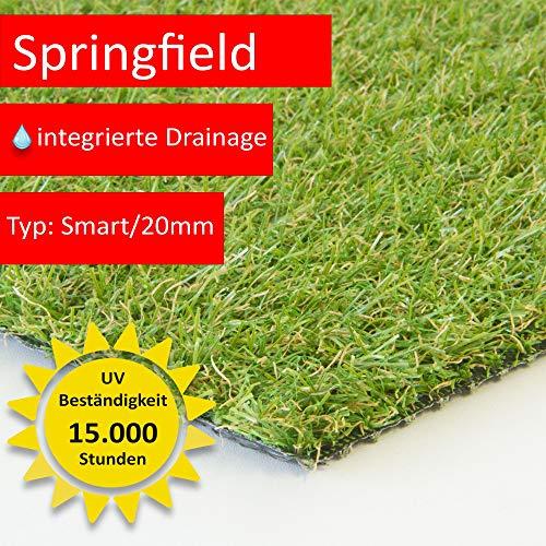 Steffensmeier Kunstrasenteppich Springfield | Outdoor für Terrasse und Balkon | wasserdurchlässig mit UV-Garantie | Meterware, Größe: 100x50 cm