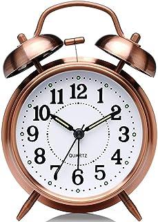 TOOGOO 非カチカチの4インチツインベル目覚まし時計-バックライト機能付き金属フレーム3Dダイヤル-家庭用およびオフィス用卓上時計、赤茶色