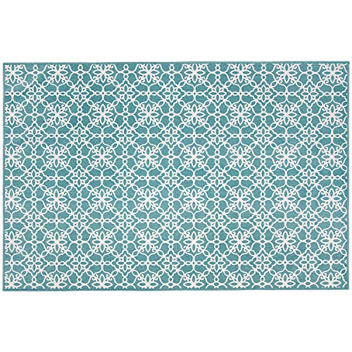 "RUGGABLE Washable Indoor/Outdoor Stain Resistant 3x5 (36""x60"") Runner Rug 2pc Set (Cover and Pad) Floral Tiles Aqua Blue and White"