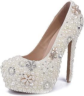 "Pumps for Women Slip-on Faux Pearl Flowers Bride Wedding Shoes Patent Round Toe 16cm/6.3"" Heel Stiletto Platform Rubber Sole Fashion Comfortable Shoes High Heels (Color : White, Size : 41 EU)"