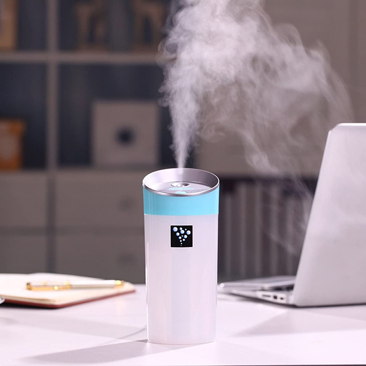 300ML Water Bottle Usb Essential Oil Diffuser,Oil Aroma Diffuser Aroma Mist Ultrasonic Air Humidifier for Spa Office Kitchen Home Car Yoga (Blue)