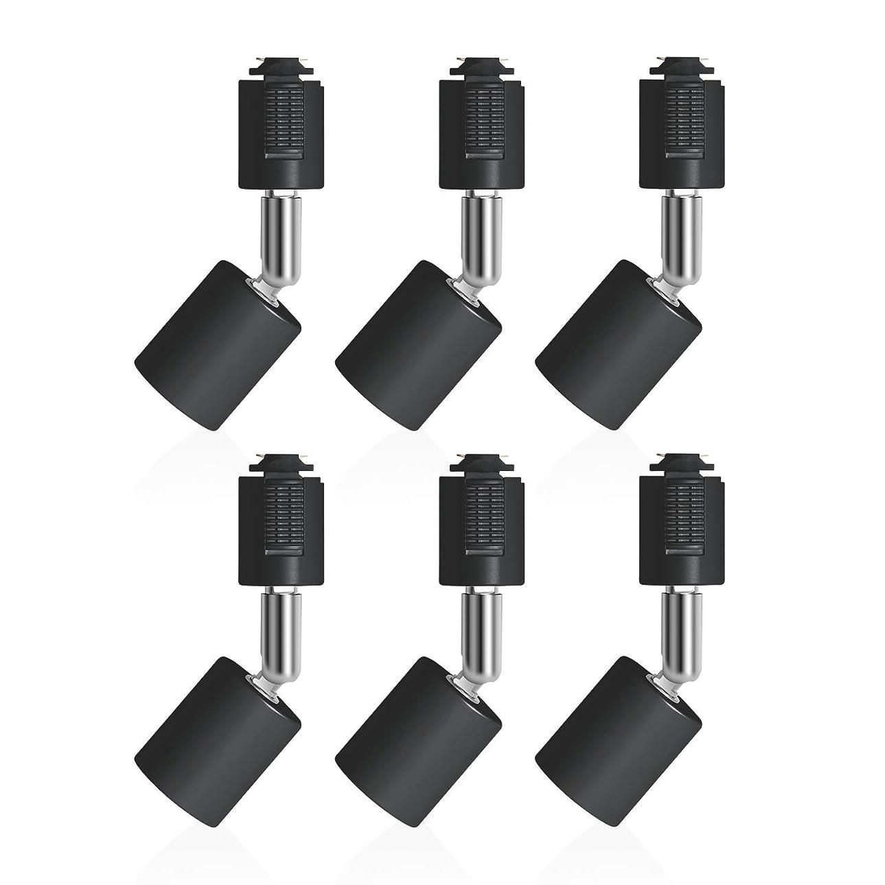 足中世の想定するDiCUNO ライティングバー用スポットライト E26口金 配線ダクトレール用器具 ライティングレール LED対応 ブラック 6個セット (電球なし)