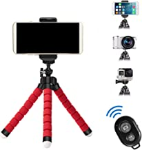 APSZST Phone Tripod, Portable and Adjustable Tripod Stand Holder with Remote for iPhone, Android Phone,Camera with Universal Clip and Remote (Red)