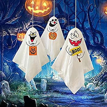 3 Pcs Halloween Mini Ghost Hanging Decoration White Fabric Ghost Party Decoration Pumpkin Ghost Windsock Pendant for Patio Lawn Garden Party Holiday Decorations Finger Doll Cake Card Decoration