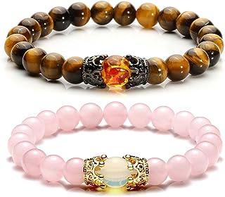 Jovivi King&Queen Crown Distance Couple Bracelets for Men Women 8mm Natural Stone Healing Energy Beads Stretch Bracelet