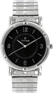 1639SM03 تيتان كاريشما للرجال ، مقاومة للماء ، معدن ، فضي مع وجه أسود