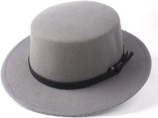 Pork Pie Hat Fedora Trilby Fashion Winter Flat Top Hat Men Women Wide Brim Hat Panama Hat Wool Trilby Fedora Hat Size 56-58CM (Color : Gray, Size : 56-58)