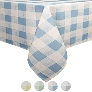 Eforcurtain 52 Inch by 70 Inch Holidays Checkered Pattern Design Tablecloth Durable Fabric Table Cover Spillproof Ice Blue