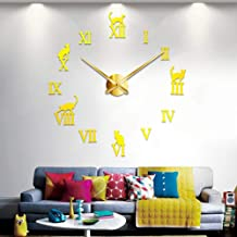 Generic Fashion Cat Frameless Large Diy Wall Clock, Gold, Cdr-009