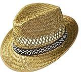 Erntehelfer Strohhut (Sonnenschutz) für Damen und Herren, cooler und modischer Sonnenhut im Trilby Look für den Sommer am Strand oder im Urlaub, verschiedene Größen, Farbe natur, Gr: 60 cm