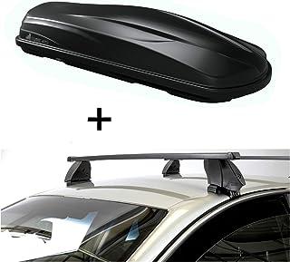 VDP Dachbox CUBE470 470 Liter schwarz glänzend + Dachträger K1 MEDIUM kompatibel mit Nissan Qashqai (J11) (5Türer) ab 14