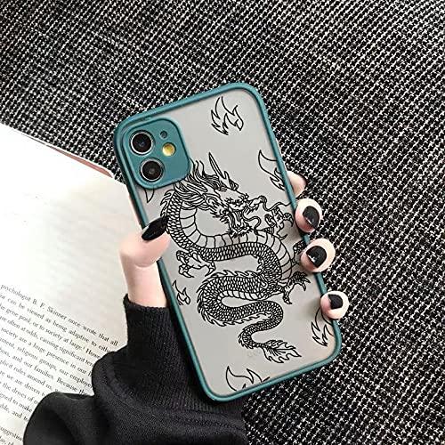 Custodia per telefono con motivo animale drago moda per iPhone 12 11 Pro XS MAX X 7 XR SE20 8 6Plus Custodia rigida trasparente opaca, stile 3, per iphone XR