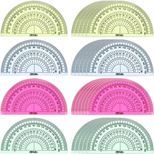24 Pack Plastic Protractors Math Protractor 180 Degrees 4 Inch (Red Green Yellow Blue)