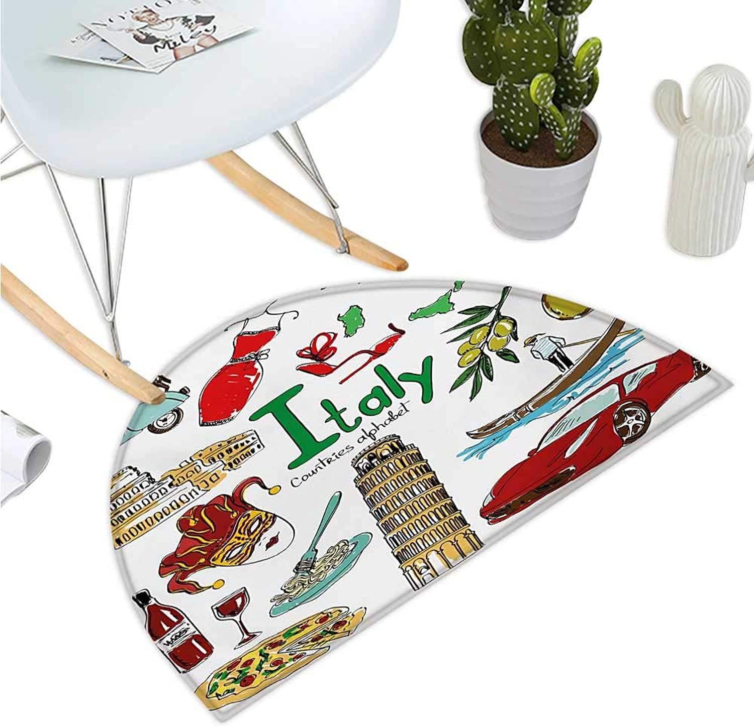 Semicircular Cushion Fun colorful Sketch Collection  Icons Countries Alphabet Landmarks Food Culture Entry Door Mat H 47.2  xD 70.8  Multicolor