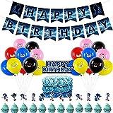 BAIBEI Sonic Decorazioni per Feste,Cake Topper,Striscione,Kit di Forniture per Feste di Compleanno,Sonic The Hedgehog Balloons Forniture per Feste per Bambini docce per Bambini