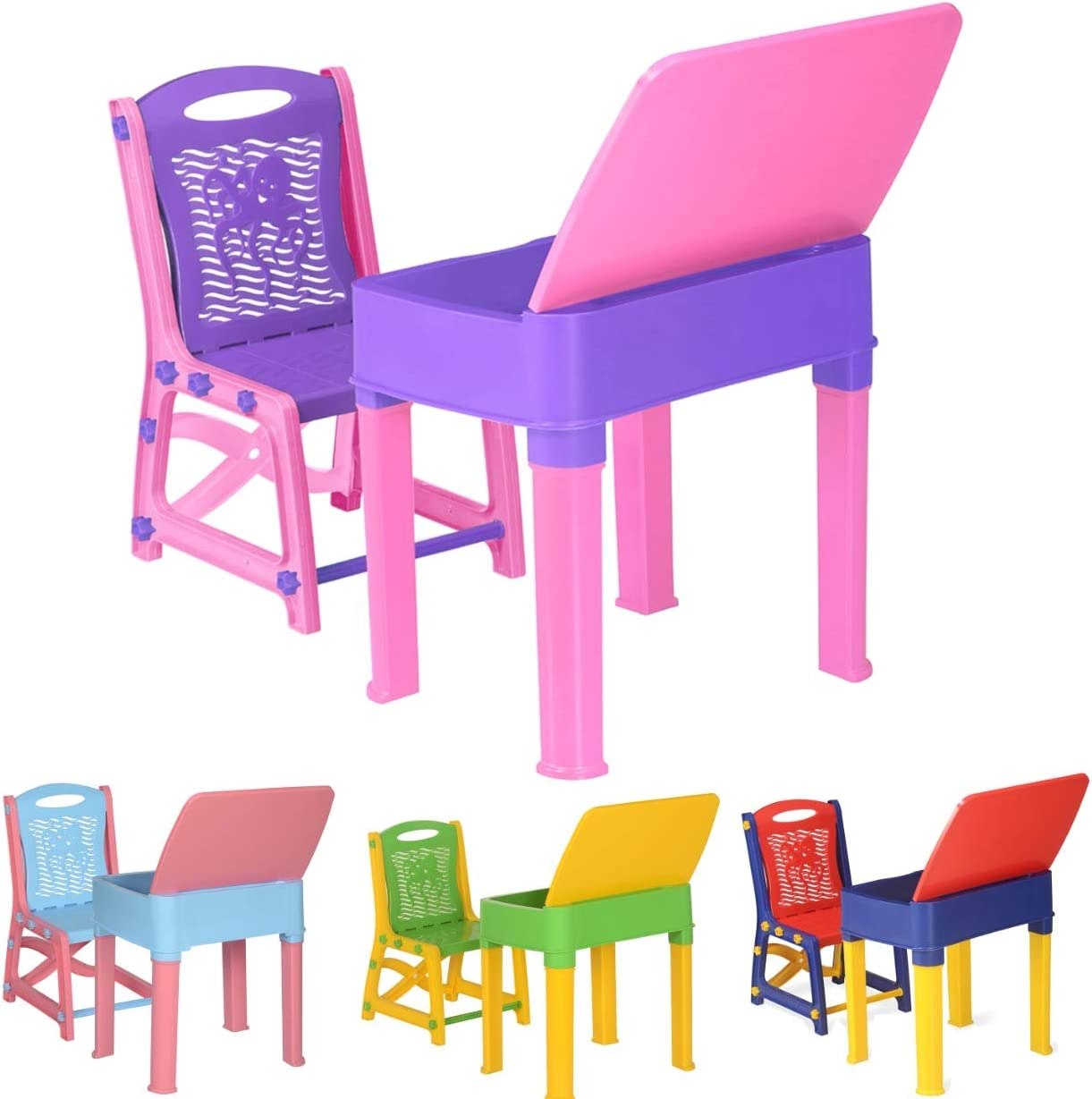 A406 Kids Study Desk Study table and chair set Juniors Toddler study chair and desk for children boys and girls gift set Blue