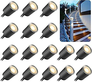 16 Pcs Recessed LED Deck Light with Dimmable Remote Control Kits for Outdoor Railing Stair Step, 12V Low Voltage Waterproo...
