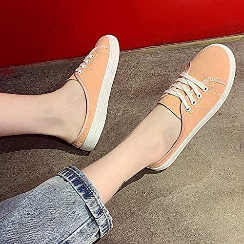 QBLDX Zapatillas de Lona para Mujer Zapatillas de Deporte Bajas Unisex Calzado Transpirable Sin Cordones para Caminar,Pink-6uk