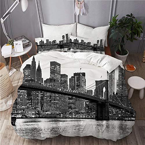 SUHOM Juego de Ropa de Cama con Funda de edredón, de Microfibra, Puente de Brooklyn y Manhattan en la Noche, Nueva York,con 2 Fundas de Almohada,140x200