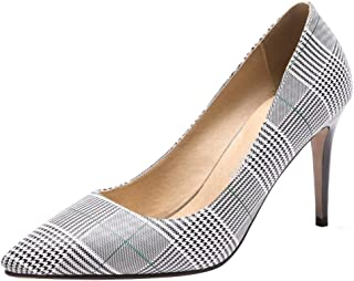 30cea3cc3955 Mofri Women s Checkered Pointed Toe Pump - Patterned Low Cut - Classy Slip  On Stiletto High