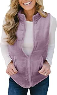 Womens Vest Fleece Zip Up Sleeveless Lightweight Quilted Padded Casual Jackets Outerwear