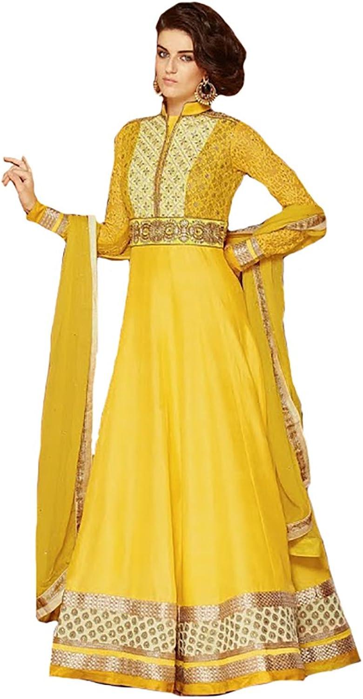 Yellow Indian Party wear Anarkali Salwar Kameez Suit Dupatta Ceremony