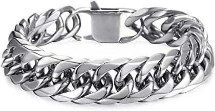 Trendsmax Heavy Mens Bracelet Chain 316L Stainless Steel Silver Color Punk Double Curb Cuban Rombo Link 15mm 7-11inch