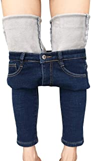 Womens Winter Jeans Thick Skinny Pants Fleece Lined Slim...