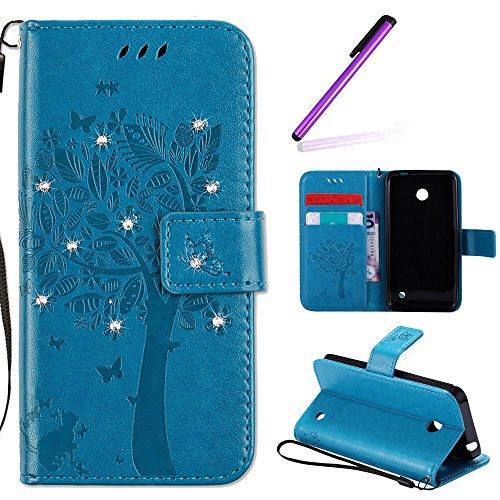 EMAXELERS Nokia Lumia 630 Hülle PU Lederhülle Bookstyle Handyhülle Flip Glitzer Asche Brieftasche Bumper mit Kartenfächer Wallet Tasche Etui für Nokia Lumia 630/635,Diamond Blue Wishing Tree