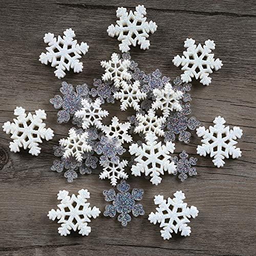 Kesote 32 Pezzi di Mini Decorazione Natalizia Miniatura di Resina di Fiocchi di Neve Decorazioni di Regalo, Pacco, Biglietti d'Auguri, Fiocchi di Neve di 2 Forme